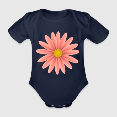 Rote Daisy Top Down - Baby Bio-Kurzarm-Body