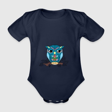 lucky lucky owl - Organic Short-sleeved Baby Bodysuit