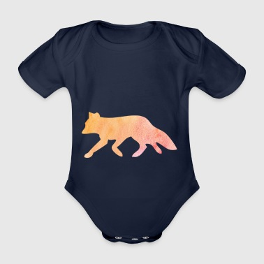 Fox silhouette watercolor gift - Organic Short-sleeved Baby Bodysuit