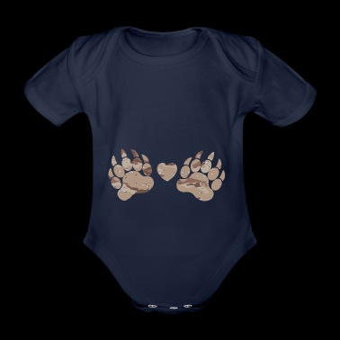 Camouflage paws paws claws desert camouflage heart - Body ecologico per neonato a manica corta