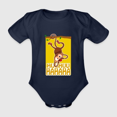 Naughty monkey tree tongue out - Organic Short-sleeved Baby Bodysuit