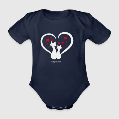 Cats love forever together Cat Lover together - Organic Short-sleeved Baby Bodysuit