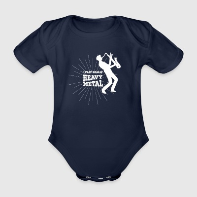 Saxophone Heavy Metal - Organic Short-sleeved Baby Bodysuit