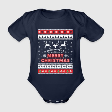 Ugly Christmas Sweater - Merry Christmas - Organic Short-sleeved Baby Bodysuit