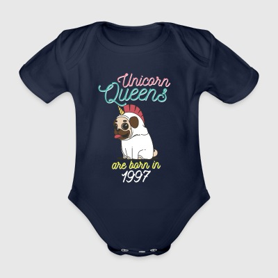 Unicorn Queens are born in 1997 - Organic Short-sleeved Baby Bodysuit