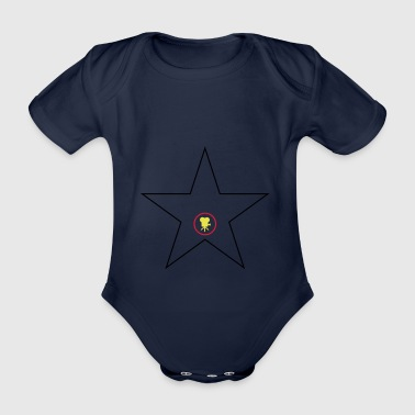 Hollywood Star Svart Red Gold - Økologisk kortermet baby-body