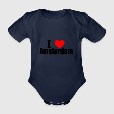 I love amsterdam - Organic Short-sleeved Baby Bodysuit