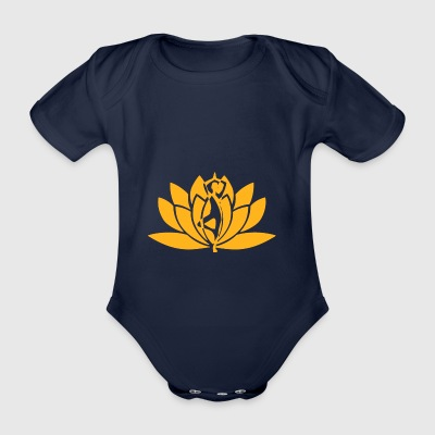 Yoga flower yellow - Organic Short-sleeved Baby Bodysuit