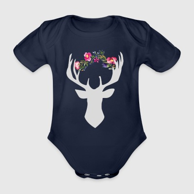 flowers Hirsch - Organic Short-sleeved Baby Bodysuit