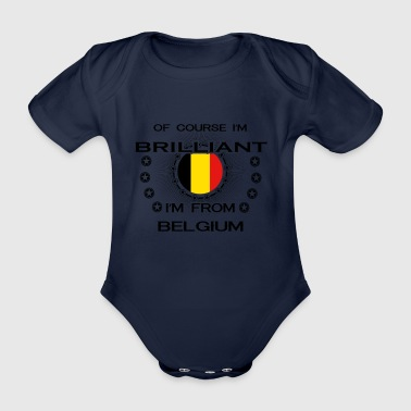 I AM GENIUS BRILLIANT CLEVER BELGIUM - Organic Short-sleeved Baby Bodysuit