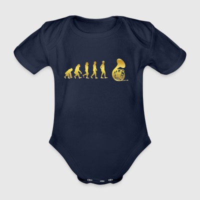 evolution human ekg heartbeat TUBA TRUMPET - Organic Short-sleeved Baby Bodysuit