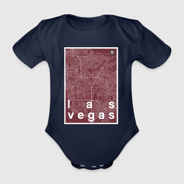 Las Vegas hipster city map red - Organic Short-sleeved Baby Bodysuit