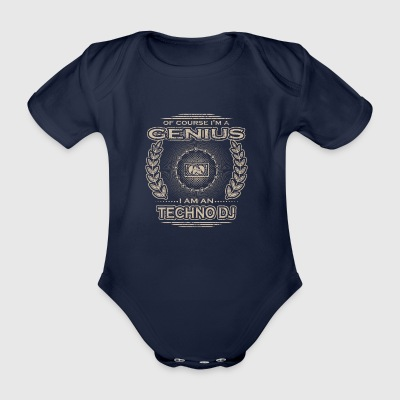yes i am genius gift TECHNO DJ - Organic Short-sleeved Baby Bodysuit