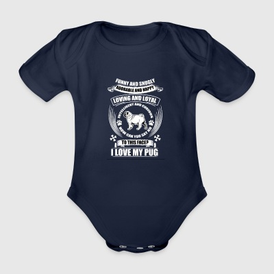 PUG LOVE3 - Organic Short-sleeved Baby Bodysuit