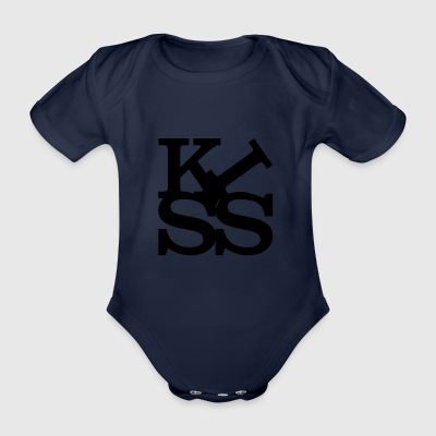 kiss homage to Robert Indiana Kiss black inside - Organic Short-sleeved Baby Bodysuit