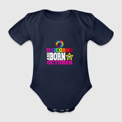 Unicorns are born in October - Organic Short-sleeved Baby Bodysuit
