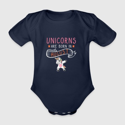 Unicorns Are Born In August - Organic Short-sleeved Baby Bodysuit