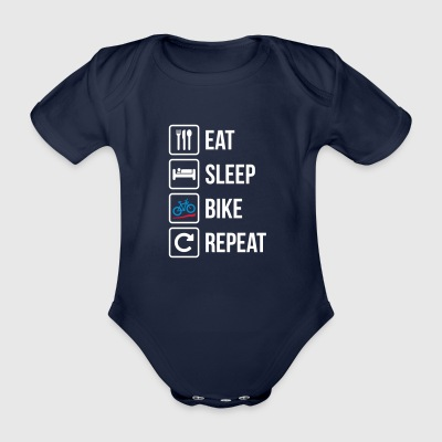 Eat Sleep Bike Repeat - Organic Short-sleeved Baby Bodysuit
