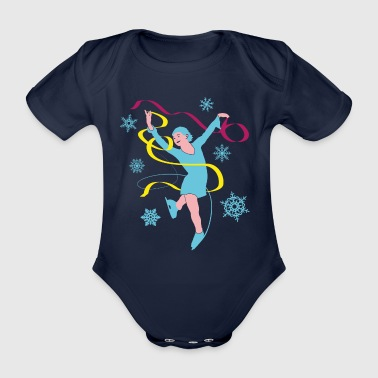 Ice Princess in ice dancing and ice skating - Organic Short-sleeved Baby Bodysuit
