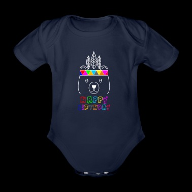 Cute Indian Bear - Funny Happy - Organic Short-sleeved Baby Bodysuit