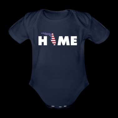 Home Florida - American Flag - Organic Short-sleeved Baby Bodysuit