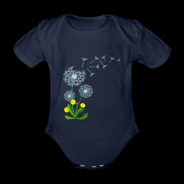 Flying dandelion seed gift idea - Organic Short-sleeved Baby Bodysuit