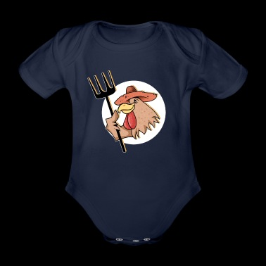 Comic Rooster Circle Hat Pitchfork Gift Idea Farm - Organic Short-sleeved Baby Bodysuit