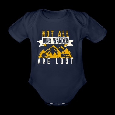 not all who Wander are Lost T-Shirt mit Bergen - Baby Bio-Kurzarm-Body
