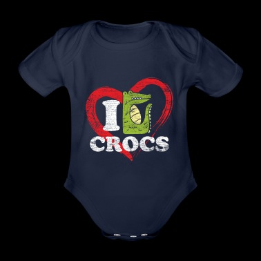 Crocodiles Love Valentine's Day Eche dinosaur animal - Organic Short-sleeved Baby Bodysuit