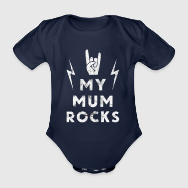 Mother's Day Mama Rock Heavy Metal Gift - Organic Short-sleeved Baby Bodysuit