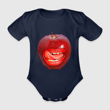 sexy apple tongue mouth gift idea kiss - Organic Short-sleeved Baby Bodysuit