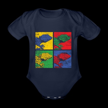 Popart Gecko Salamander Lifestyle Animal Reptile - Organic Short-sleeved Baby Bodysuit