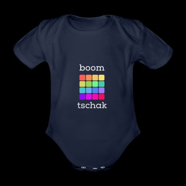 Boom Chak - Drum Machine font light gray V4 - Organic Short-sleeved Baby Bodysuit