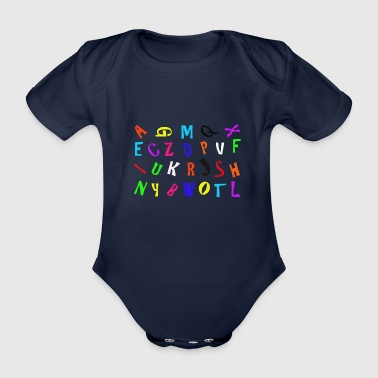Alphabet in color - Organic Short-sleeved Baby Bodysuit