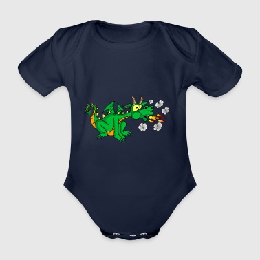 Green dragon - Organic Short-sleeved Baby Bodysuit