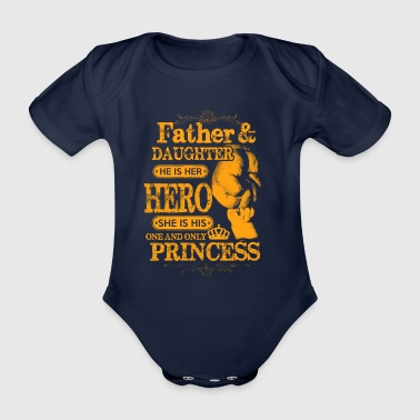 Far Datter Family Hero Princess gave - Økologisk kortermet baby-body
