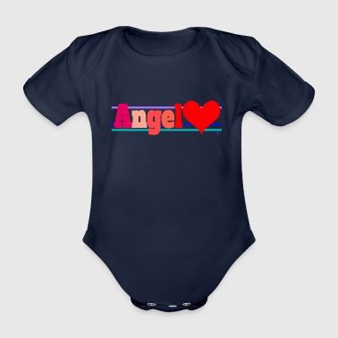 Angel and heart - Organic Short-sleeved Baby Bodysuit