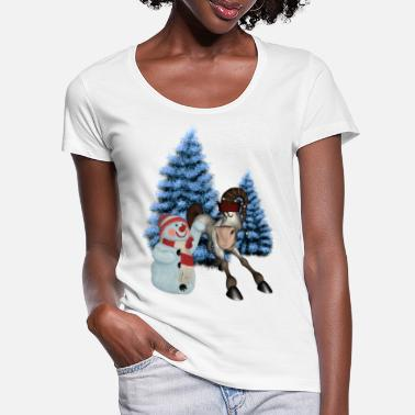 Snowman Christmas, horse of funny drawings - Women's Scoop-Neck T-Shirt
