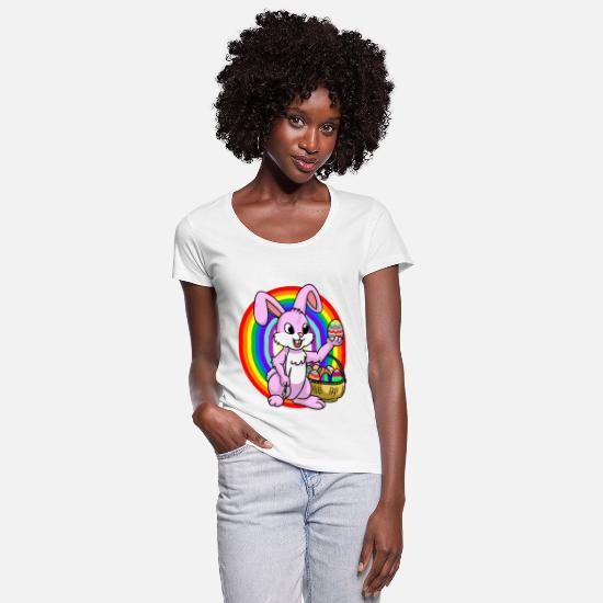 Easter T-Shirts - Rainbow with easter bunny - Women's Scoop-Neck T-Shirt white