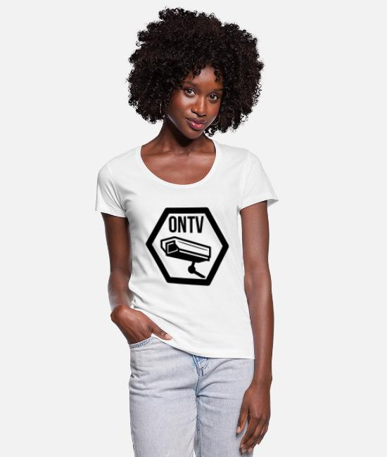 Cctv T-Shirts - television cctv - Women's Scoop-Neck T-Shirt white