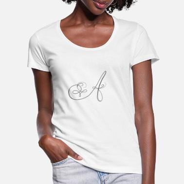 Lettering A, letter, letter A - Women's Scoop-Neck T-Shirt