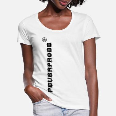 Passed Fire test with funky sign black - Women's Scoop-Neck T-Shirt
