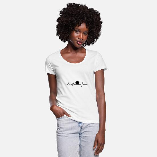 Gift Idea T-Shirts - House heartbeat architect house building broker gift - Women's Scoop-Neck T-Shirt white