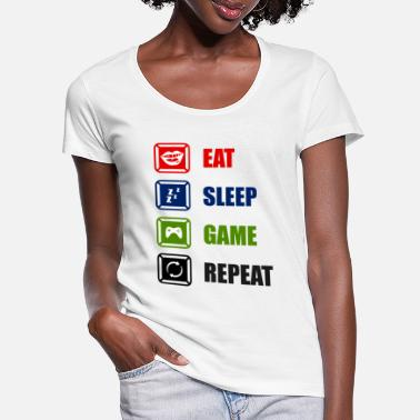 Cards Eat Sleep Game Repeat - Women's Scoop-Neck T-Shirt