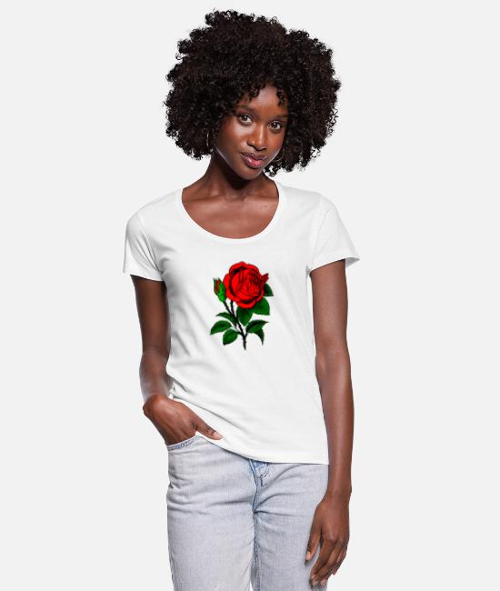 Rose T-Shirts - Red rose - Women's Scoop-Neck T-Shirt white