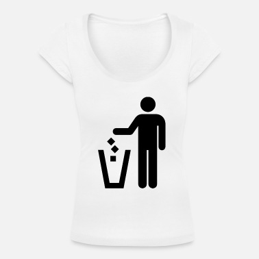 Trash Can Stick figure trash can - Women's Scoop-Neck T-Shirt