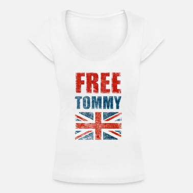 Tommy Robinson Free Tommy Robinson Free Speech UK - Women's Scoop-Neck T-Shirt