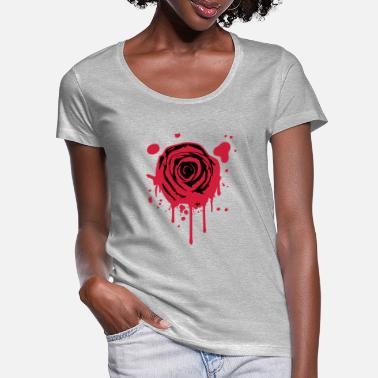 Rose Red blood splashes KLEX graffiti rose - Women's Scoop-Neck T-Shirt