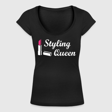 Styling Queen * Design Style Fashion Lipstick - Camiseta con escote redondo mujer
