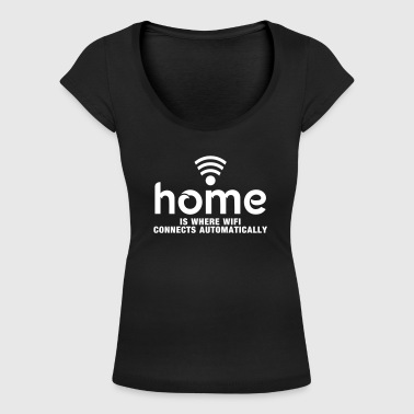 home is where the wifi connects automatically - Koszulka damska z głębokim dekoltem